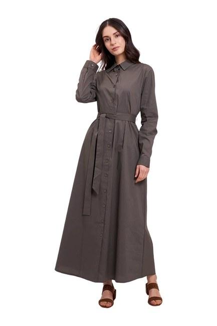 Poplin Maxi Gömlek Elbise (Haki) - Thumbnail