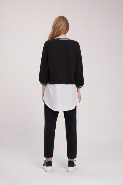 Poplin Parçalı Sweatshirt (Siyah) - Thumbnail