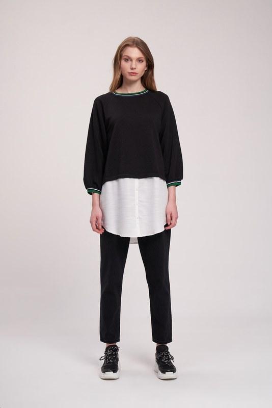 Poplin Parçalı Sweatshirt (Siyah)