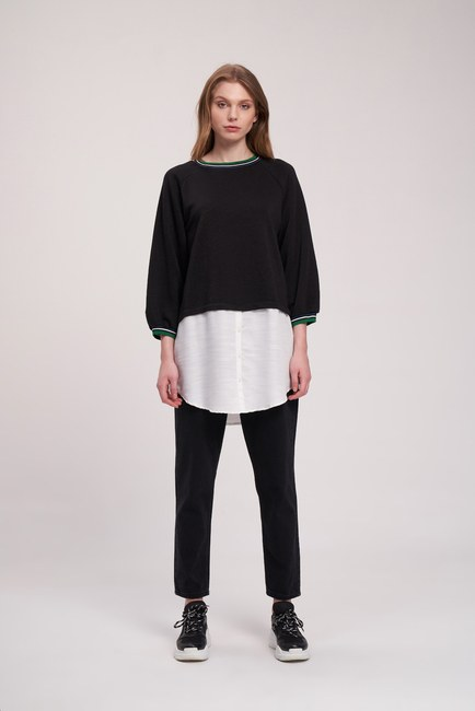 MIZALLE YOUTH - Poplin Piece Sweatshirt (Black) (1)