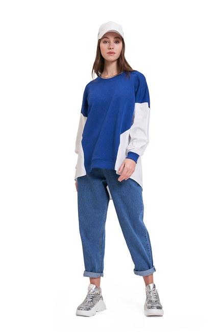 Mizalle Youth - Poplin Shirt Detailed Sweatshirt (Sax) (1)