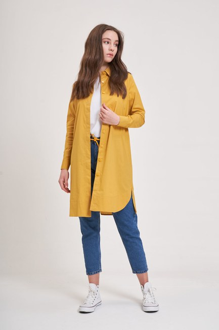 MIZALLE YOUTH - Poplin Tunic Shirt (Mustard) (1)