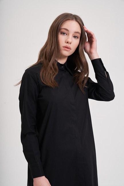 Poplin Tunik Gömlek (Siyah) - Thumbnail