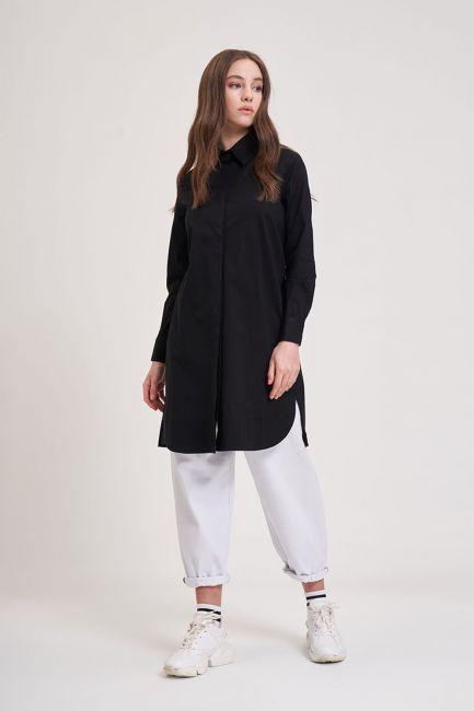 Mizalle - Poplin Tunik Gömlek (Siyah)