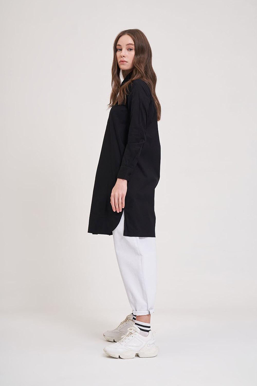 Poplin Siyah Tunik Gömlek