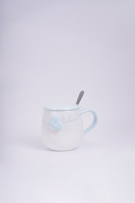 MIZALLE HOME - Porcelain Mug with Spoon (Blue) (1)