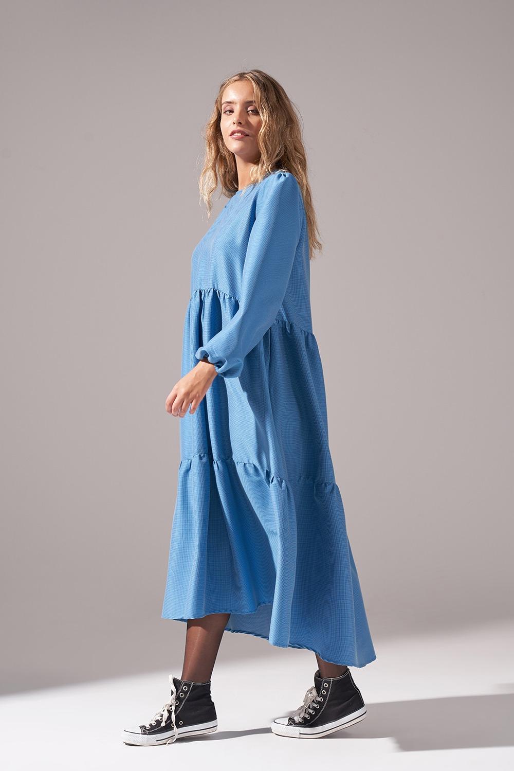 Pötikareli Salaş İndigo Elbise