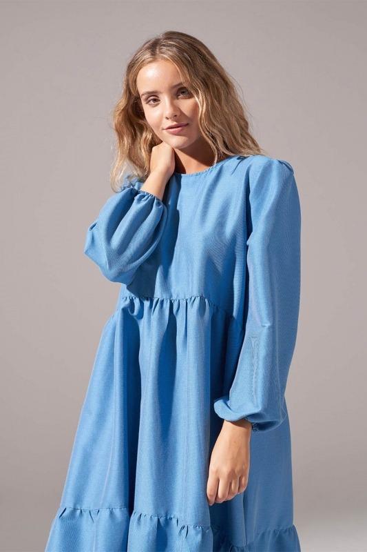Pötikareli Salaş Elbise (İndigo)