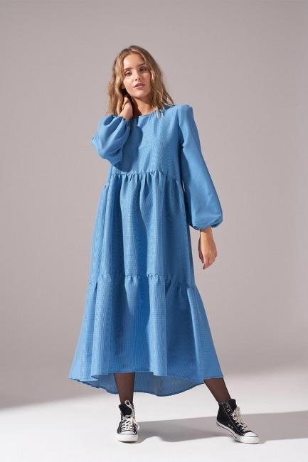 Mizalle - Pötikareli Salaş Elbise (İndigo)