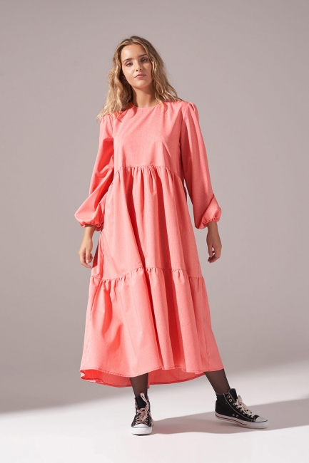 Pötikareli Salaş Elbise (Kırmızı) - Thumbnail