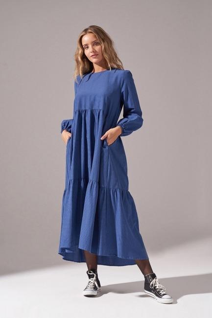 Mizalle - Pötikareli Salaş Elbise (Mavi)