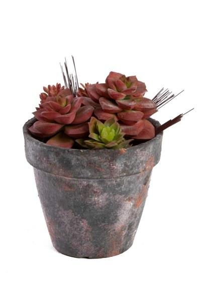 زهور اصطناعية بوعاء (18 × 18 × 15) - Thumbnail