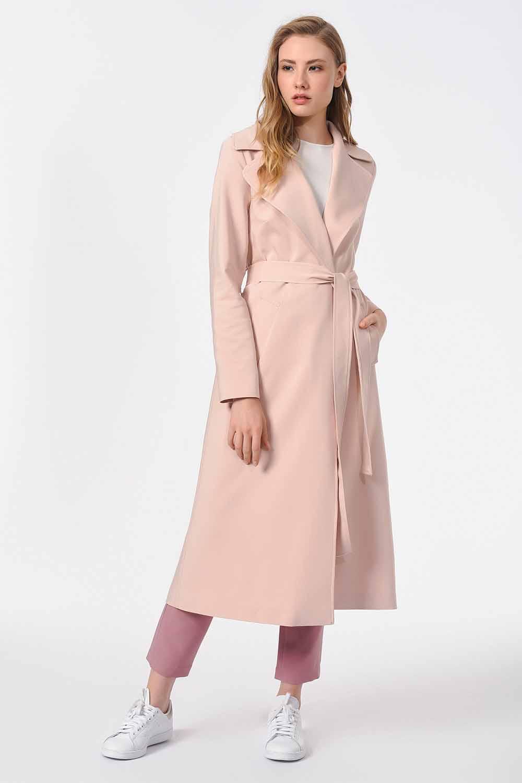 MIZALLE معطف الخندق الفاخر(وردي فاتح) (1)