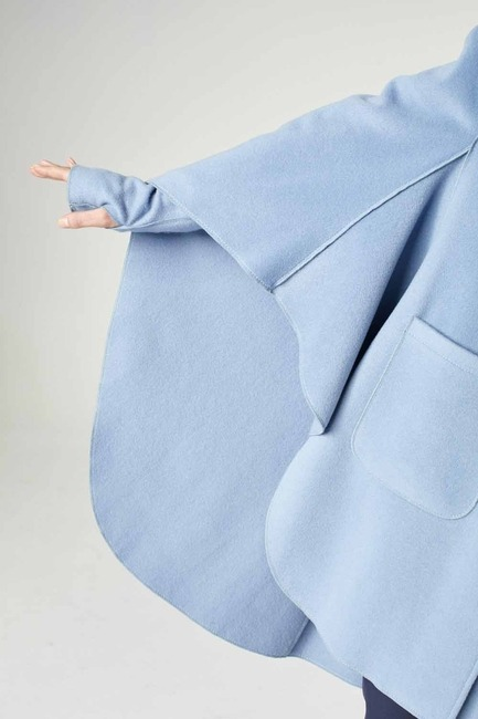 Premium Yün Pelerin Kaban (Mavi) - Thumbnail