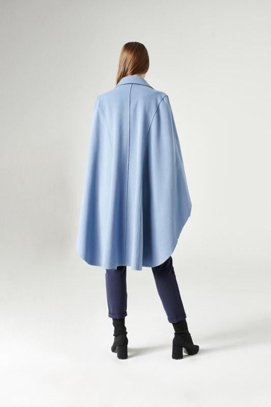 Premium Yün Pelerin Kaban (Mavi)