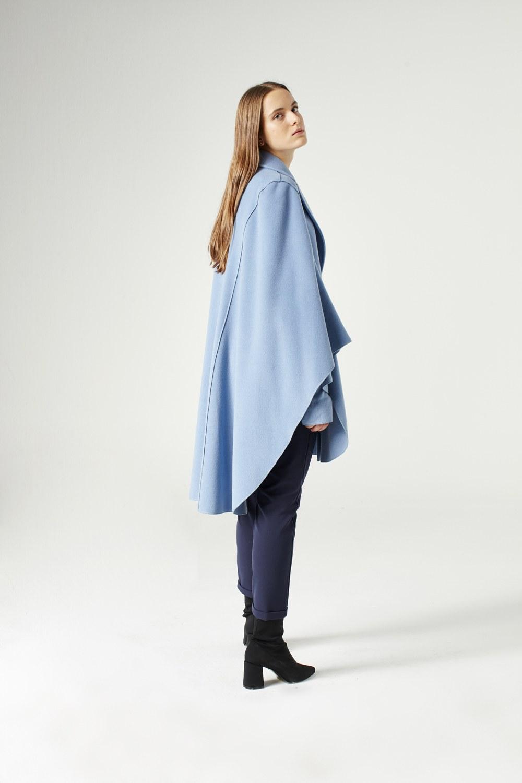 MIZALLE Premium Yün Pelerin Kaban (Mavi) (1)