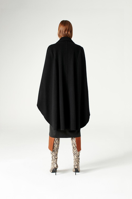 Premium Yün Pelerin Kaban (Siyah)
