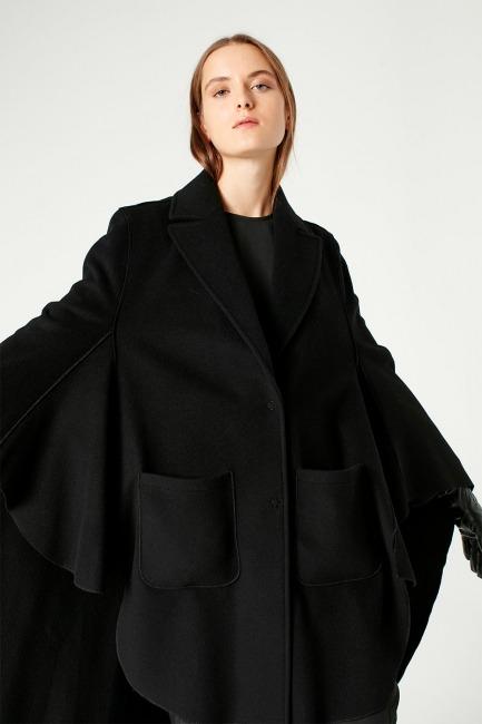 Premium Yün Pelerin Kaban (Siyah) - Thumbnail