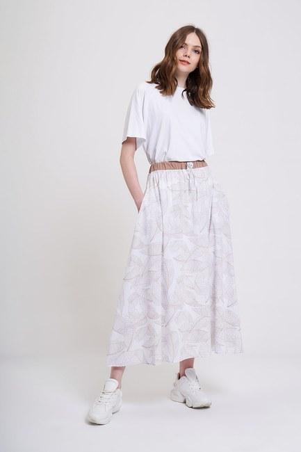 MIZALLE YOUTH - Printed Patterned Skirt (Ecru/Beige) (1)