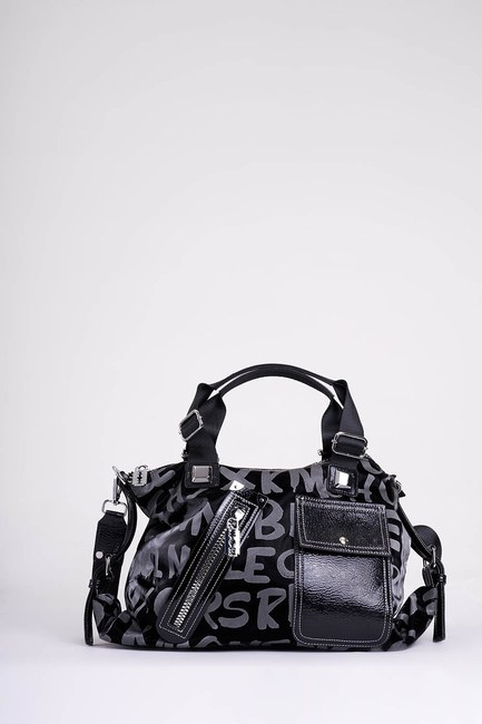 Mizalle - Printed Zippered Shoulder Bag (Black) (1)