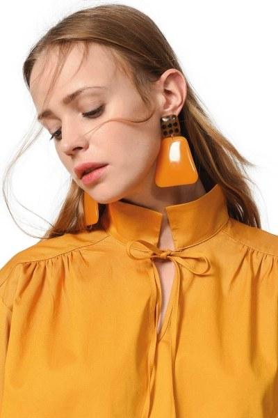 MIZALLE Polka Dot Detailed Earrings (Brown)