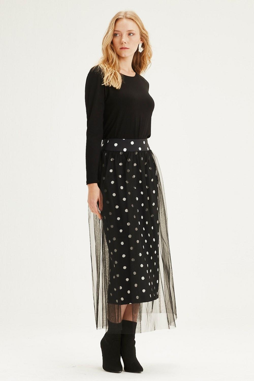 MIZALLE تنورة قماش منقط مع تول (أسود) (1)