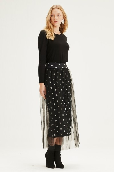 MIZALLE - تنورة قماش منقط مع تول (أسود) (1)