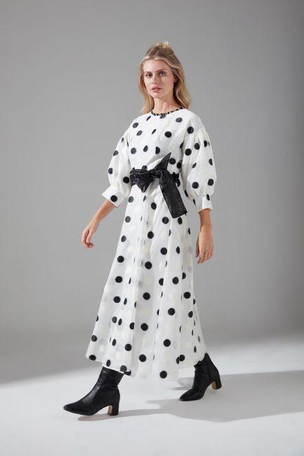Mizalle - Puantiyeli Abiye Elbise (Siyah/Beyaz)