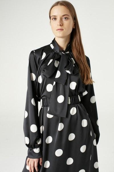 MIZALLE - فستان منقط (أسود) (1)