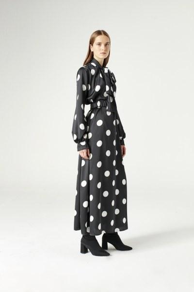 Puantiyeli Elbise (Siyah) - Thumbnail