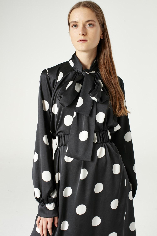 MIZALLE Puantiyeli Elbise (Siyah) (1)