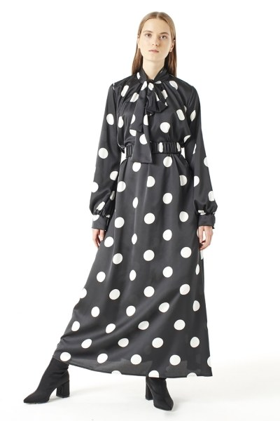 MIZALLE Polka Dot Dress (Black)