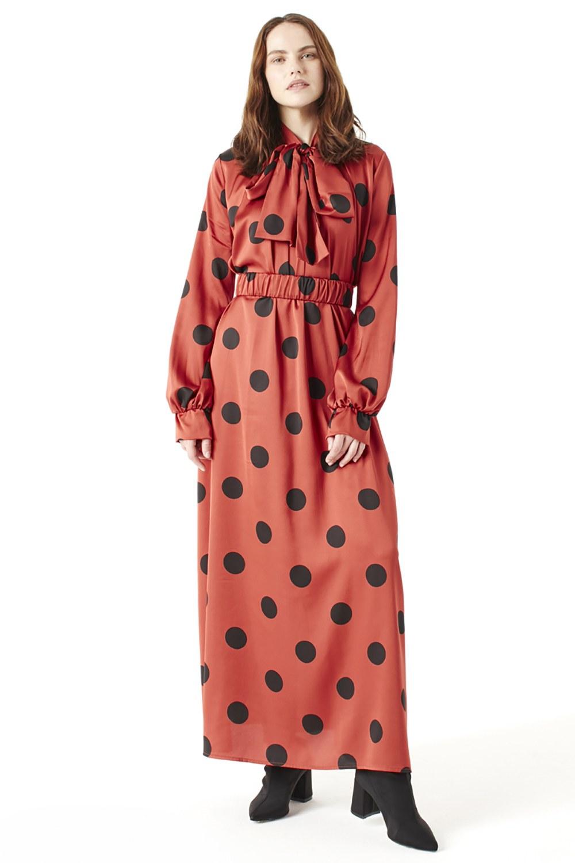 Puantiyeli Taba Elbise