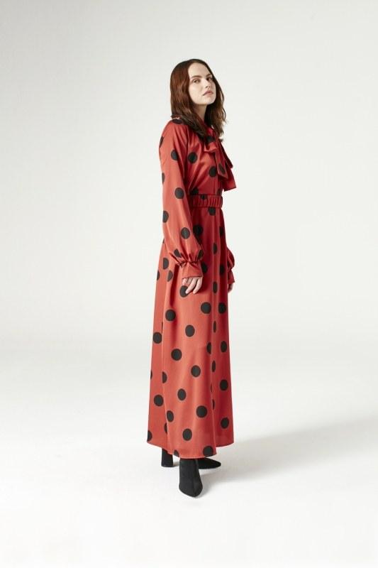 فستان منقط (أحمر محروق) 3791