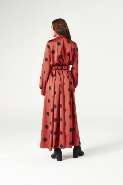 فستان منقط (أحمر محروق) - Thumbnail
