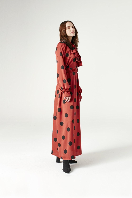 5bea386814a2b MIZALLE - Puantiyeli Elbise (Taba)