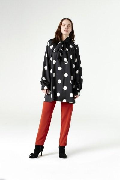 MIZALLE - Polka Dot Shirt (Black) (1)