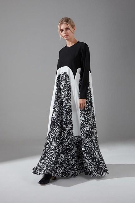 Puantiyeli Şifon Elbise (Desenli) - Thumbnail