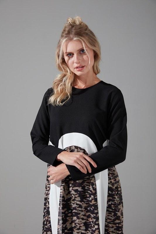 Puantiyeli Şifon Elbise (Siyah)
