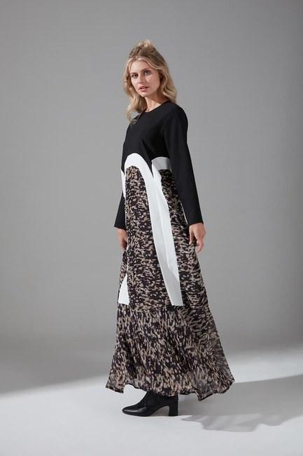 Mizalle - Puantiyeli Şifon Elbise (Siyah)