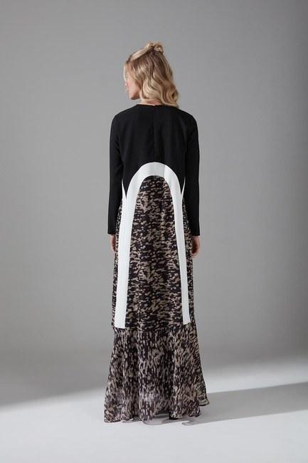 Puantiyeli Şifon Elbise (Siyah) - Thumbnail