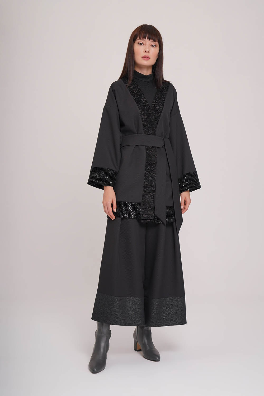 Pul Detaylı Kimono (Siyah)