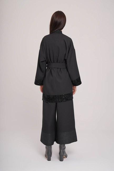 Pul Detaylı Kimono (Siyah) - Thumbnail