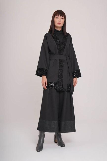 MIZALLE - Pul Detaylı Kimono (Siyah) (1)