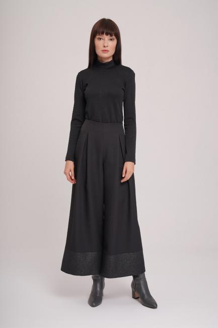 Mizalle - Pul Detaylı Pantolon (Siyah)