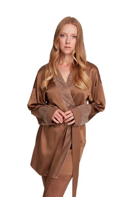Pul Garnili Saten Kimono (Kahverengi) - Thumbnail