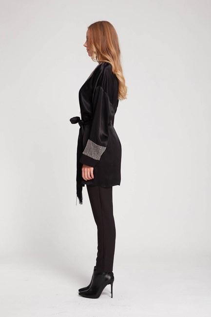 MIZALLE - Satin Sequins Kimono (Black) (1)