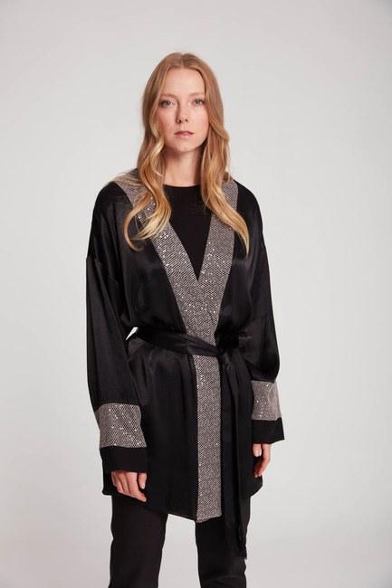 Pul Garnili Saten Kimono (Siyah) - Thumbnail