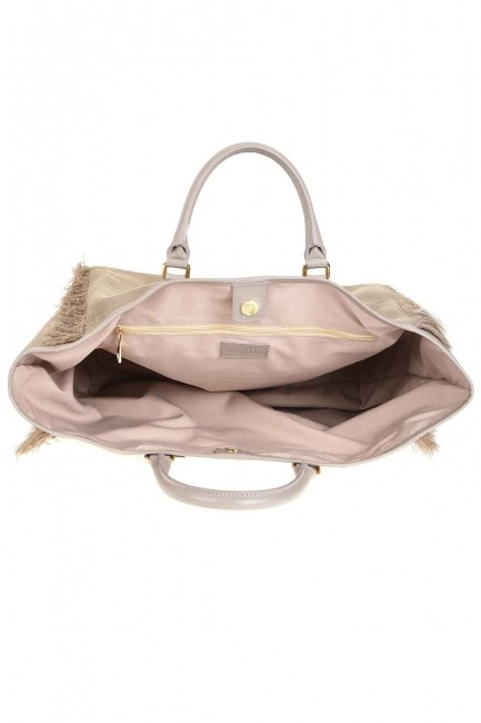 Tassel Detail Large Bag (Beige) - Thumbnail