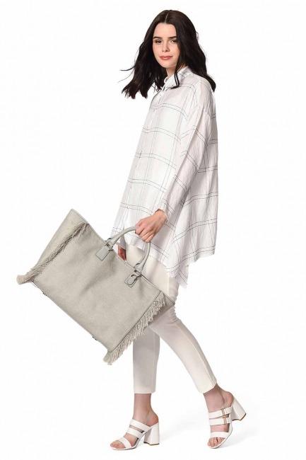 Tassel Detail Large Bag (Grey) - Thumbnail
